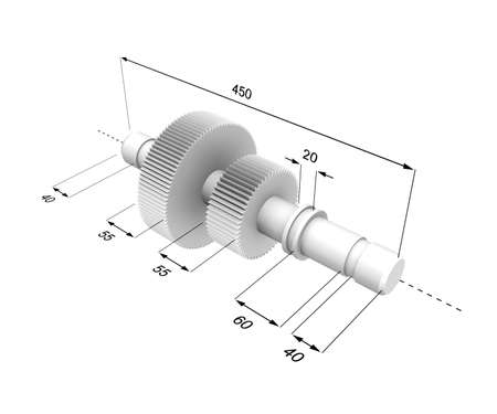 Three-dimensional model of a metal detail with the designated sizes.
