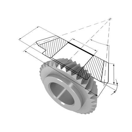 베벨 기어의 3 차원 모델. 모델 상단에 도면에 투영됩니다.