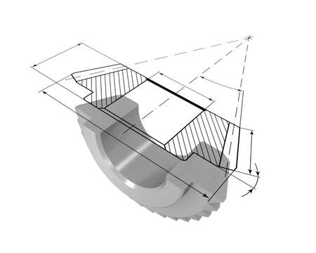 Three-dimensional model bevel gear in the section. On top of the model is projected onto the drawing.