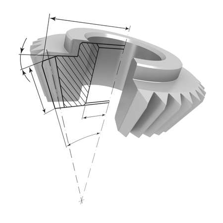 cutaway drawing: Three-dimensional model bevel gear in the section. At the cut projected drawing details.