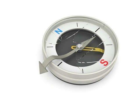 reached: Compass needle broke the glass from the inside. Indicates that you have reached the right place. Stock Photo