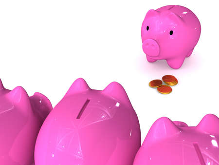 avidity: The three-dimensional image - Piggy Bank with coins is exposed to an attack. Stock Photo