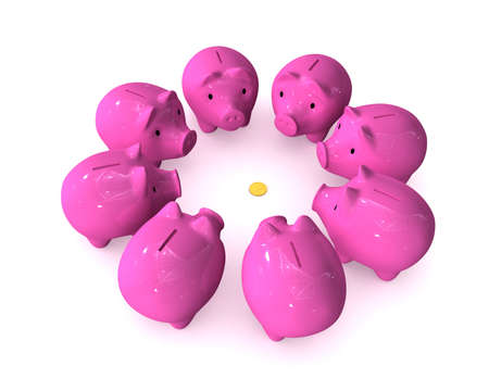 avidity: Three-dimensional image - piggy banks have surrounded one coin.