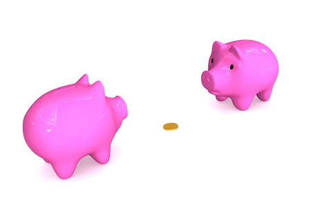 Three-dimensional image - piggy banks have surrounded one coin.