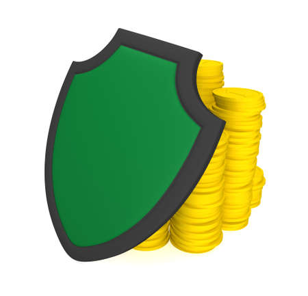 coined: Three-dimensional image - coined golds and a shield. Stock Photo