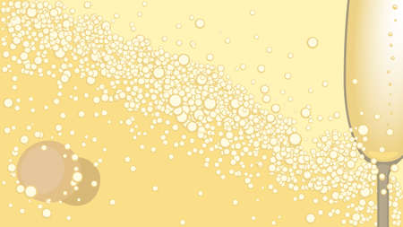 champagne cork: Glass, bottle cork and the poured champagne. Illustration