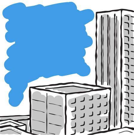 a city landscape drawn by a brush. Иллюстрация