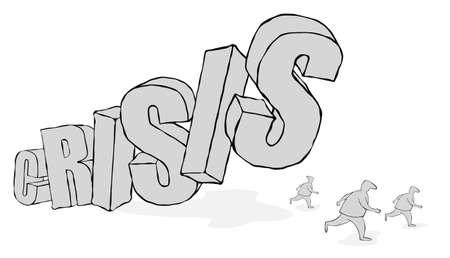 """3 차원 단어 """"위기""""는 사람들을 피할 때 떨어집니다."""