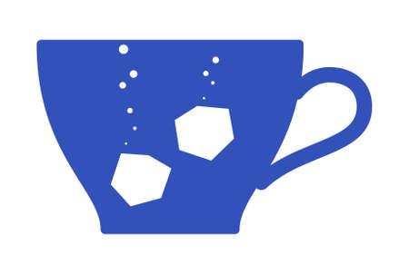 차 컵과 설탕 실루엣의 덩어리. 일러스트