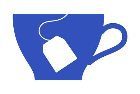 Vector image - a tea cup and teabag silhouette.