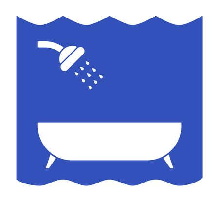 커튼에 맞은 샤워와 목욕