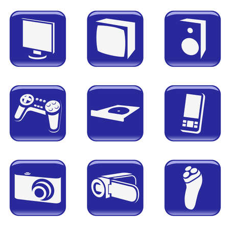 icons (buttons) with images of silhouettes of household electric devices. Stock Vector - 7806042