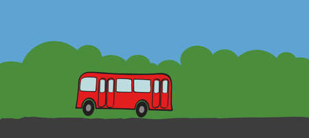 intercity:   the bus on country road. Illustration