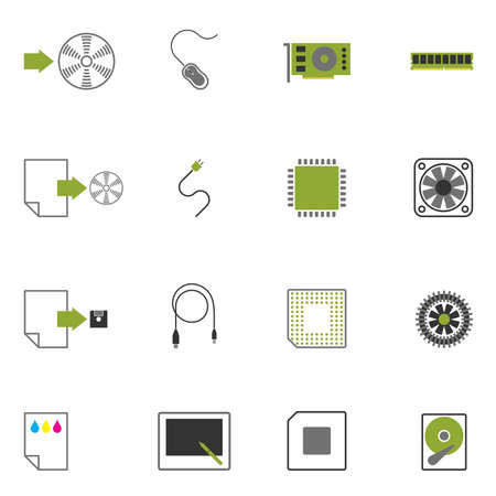 random access memory:   icons with images of computer accessories.