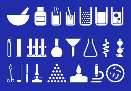 화학 도자기, 장치 및시 약의 실루엣입니다.