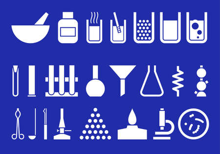 Silhouettes of chemical ware, devices and reagents.