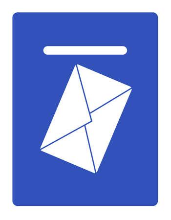 an envelope against a mail box Иллюстрация