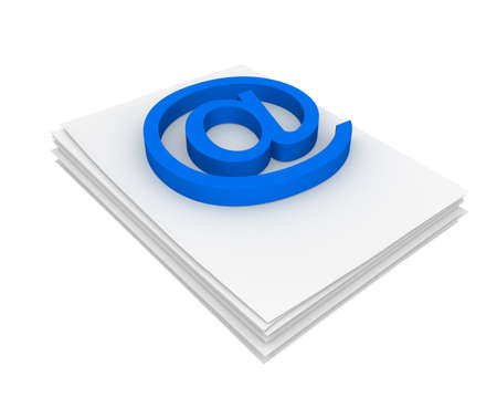 Three-dimensional model - sign e-mail to a pack of paper.