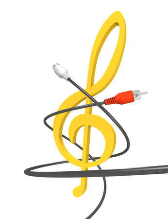 Three-dimensional image - audio cables twist around treble clef. Banque d'images
