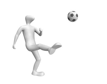 3D human - football player kicks a ball