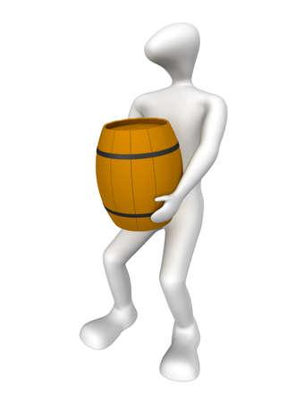 3D human dragging a heavy barrel photo