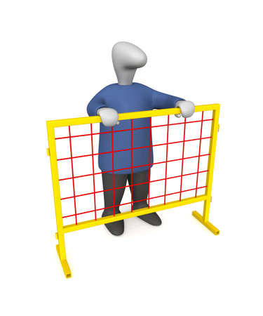 Three-dimensional image - a man behind the fences