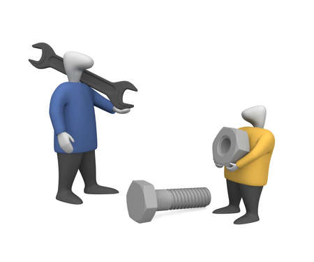 Three-dimensional image - people with a nut and bolt. photo