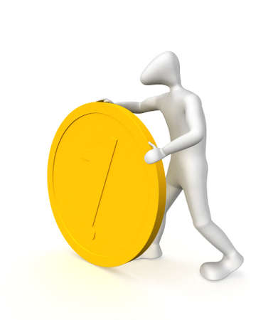 3D human rolls big coin with the number 1