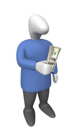 3 차원 이미지 - 손에 달러의 번들을 가진 남자.