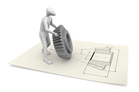 3D man holding a cogwheel. He is on the drawing of this gear. Banque d'images