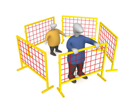 Three-dimensional image - people behind the fence.