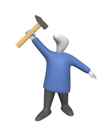 Three-dimensional image - a man raising a hammer over his head. Banque d'images