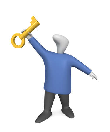 Three-dimensional image - person raises golden key in hand.