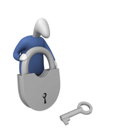 Three-dimensional image - a man holding a lock, next to him is the key.