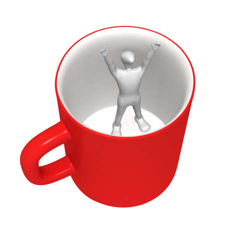 3D human stand in a mug and can not get out