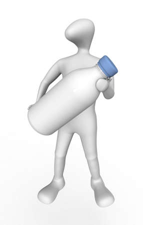 3D human holding a large bottle.