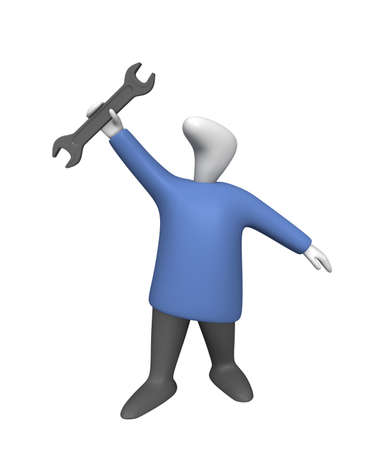 Three-dimensional image - a man with a wrench in his hand.