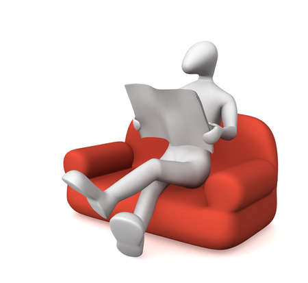 3D man sitting on the couch and read a newspaper. Фото со стока