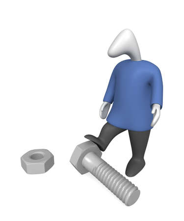 Three-dimensional image - a man stands near the bolt and nut.
