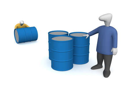 Three-dimensional image - people to pull the barrel of oil.