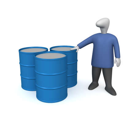 Three-dimensional image - a man stands near the barrels of fuel.