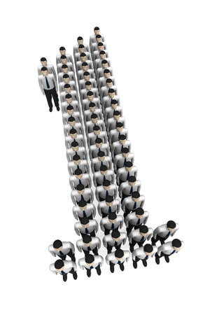 Three-dimensional image - group of people lined up in the numbers one