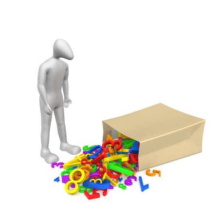 3D 인간의 약자 패키지 근처 의미합니다. 패키지에서 많은 인물을 쏟았습니다.