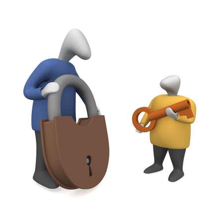 사람들은 자물쇠에 열쇠를 집어 든다. 스톡 콘텐츠