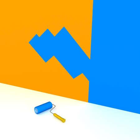 3 차원 이미지 - 파란색 절반 오렌지 벽을 그린.