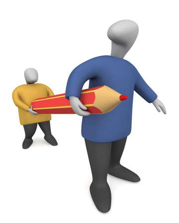 Threedimensional image - two men drag the pencil.
