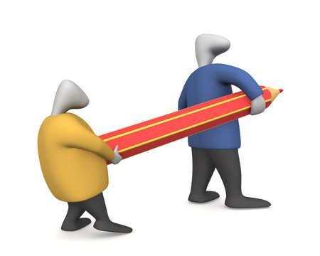 Threedimensional image - two men drag the pencil.