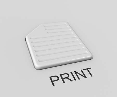"""Three-dimensional image - the button in the form of a sheet of paper with the inscription """",Print"""","""