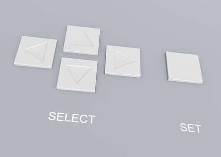 3 차원 이미지 - 메뉴 항목 및 버튼 확인을 선택하는 4 개의 버튼.