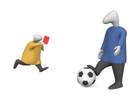 arbitrator: Immagine tridimensionale - arbitro mostra un giocatore di calcio un cartellino rosso.